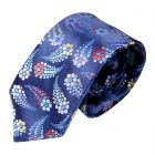 Limited Edition Silk Tie in Blue with Daisy Comets from Van Buck