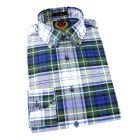 Viyella - Long Sleeve Linen Cotton Blend Shirt in Campbell Dress Tartan with Button Down Collar