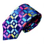 Limited Edition Silk Tie in Navy with Multi Colour Cubes from Van Buck