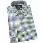 Viyella Cotton and Wool Shirt in Green Gingham Check