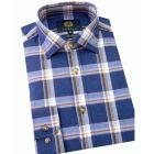 Viyella Cotton Shirt in Navy Marl Melange Plaid