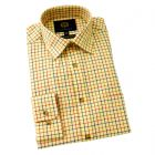 Viyella Cotton and Wool Shirt in Light Mustard Medium Tattersall