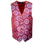 Mens Waistcoat with Red Retro Flower Design from L.A. Smith