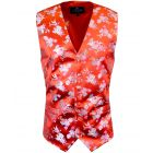 Red with Blue and Purple Bouquets Design -  Mens Waistcoat from L A Smith