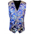 Royal Blue with Gold and Blue Dragons Design - Mens Waistcoat from L A Smith