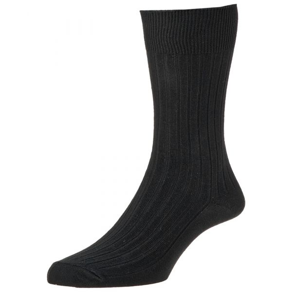 Black Executive Cotton Rich Sock from H J Hall