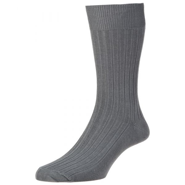 Mid Grey Executive Cotton Rich Sock from H J Hall