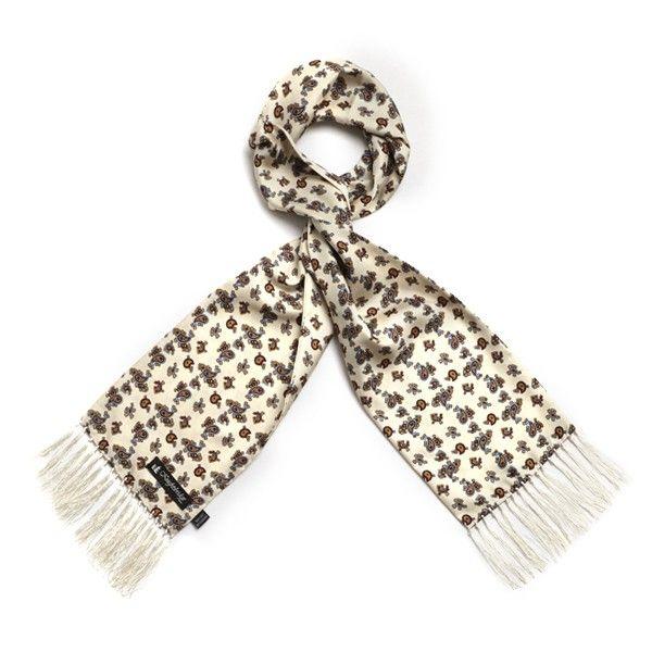 Ivory Paisley Silk Aviator Scarf from Knightsbridge Neckwear