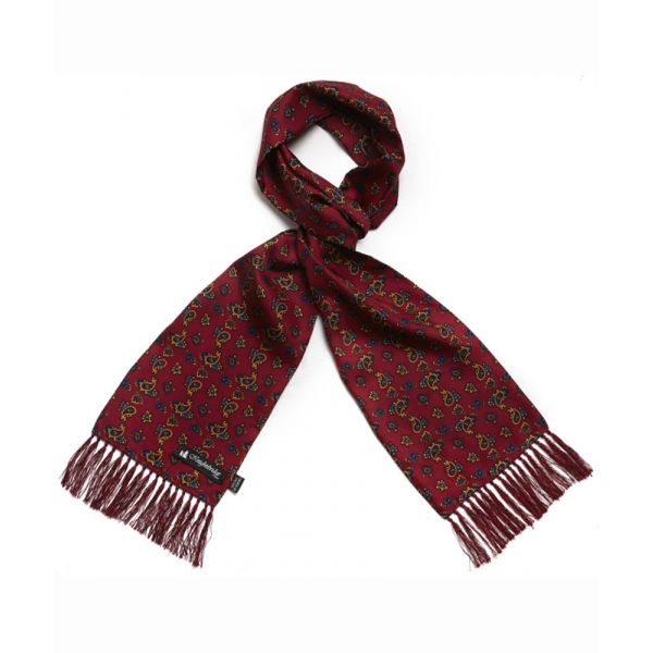 Burgundy Paisley Silk Aviator Scarf from Knightsbridge Neckwear