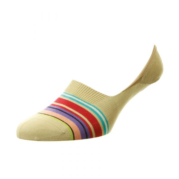 Pantherella Socks - Miami - Mens - Striped - Cotton Blend - Footlet