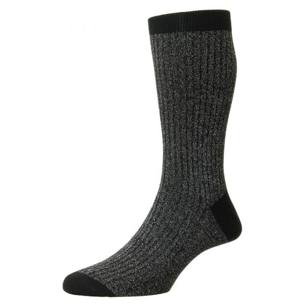 Pantherella Socks - Scala - Mens - Black - Sparkle- Cashmere Blend - Half Calf - Short