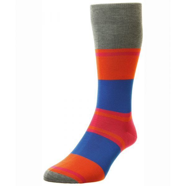 Pantherella Socks - Suva - Mens - Grey - Striped - Cotton Blend - Half Calf - Short