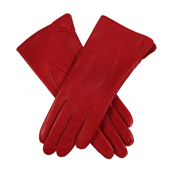 Jessica Berry Red. Ladies Lined Leather Gloves
