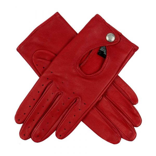 Ladies Driving Gloves with Keyhole Back in Berry Red from Dents.