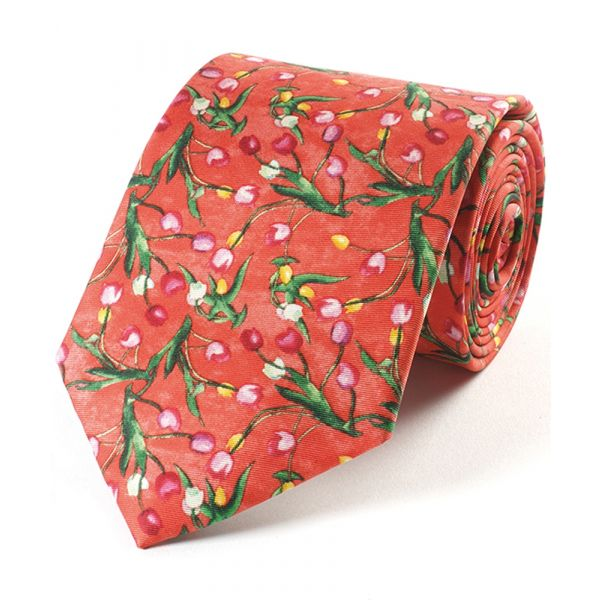 Peploe Tulips Red Silk Tie from Fox & Chave