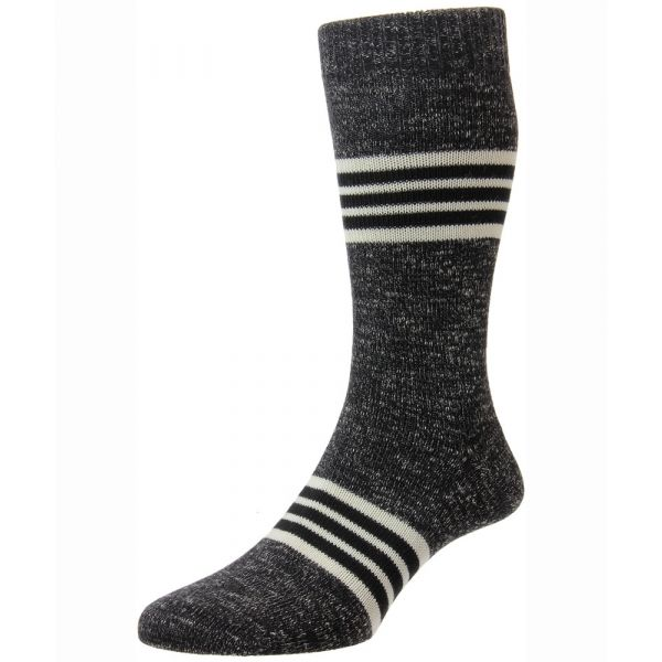Pantherella Socks - Foster - Mens - Block Stripes - Cotton Multi Blend - Half Calf - Short