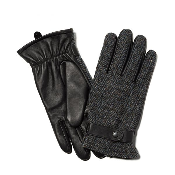 Grey Harris Tweed and Leather Gloves