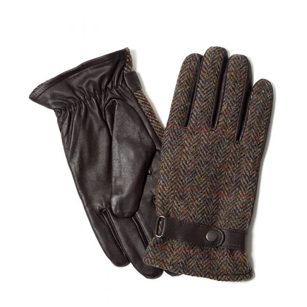 Brown Harris Tweed and Leather Gloves