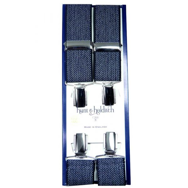 Navy Herringbone Nickle Clip Braces from Hunt and Holditch