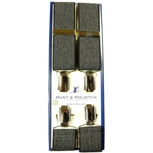 Charcoal Herringbone Gilt Clip Braces from Hunt and Holditch