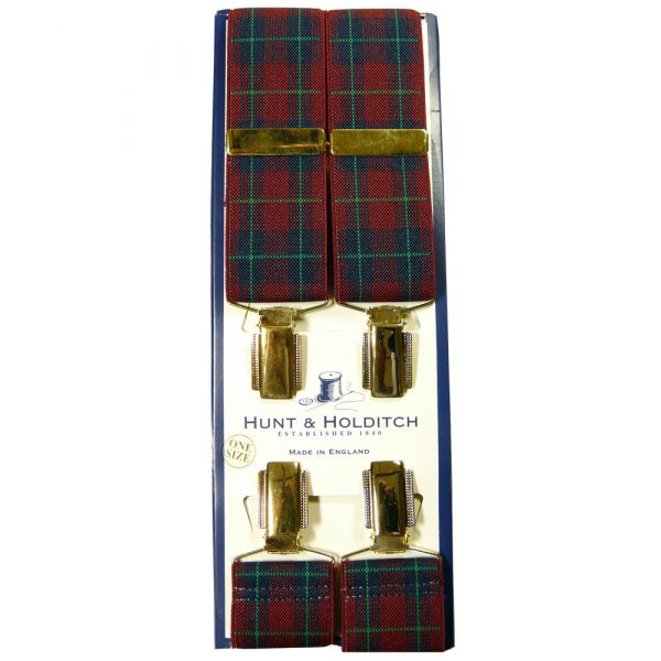 Wine Tartan Design Clip Braces from Hunt & Holditch