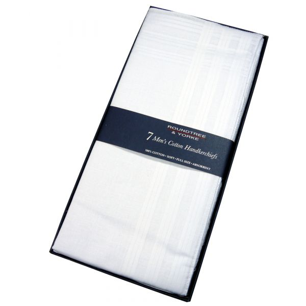 Boxed Set of Seven Mens White Cotton Handkerchiefs from Le Chateau
