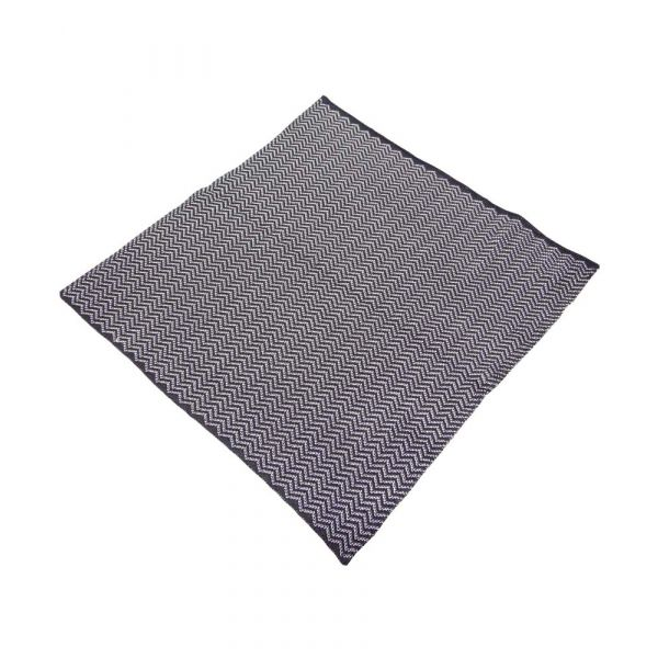 Black and Grey Zigzag Lines Knitted Silk Pocket Square