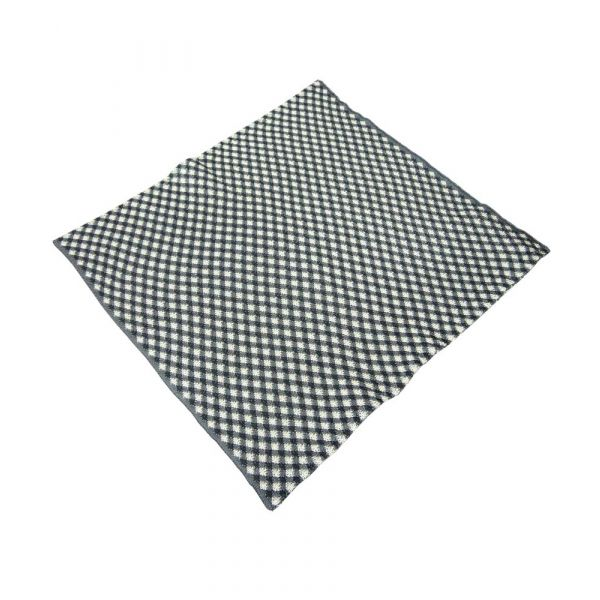 Grey and Beige Diamond Check Knitted Silk Pocket Square