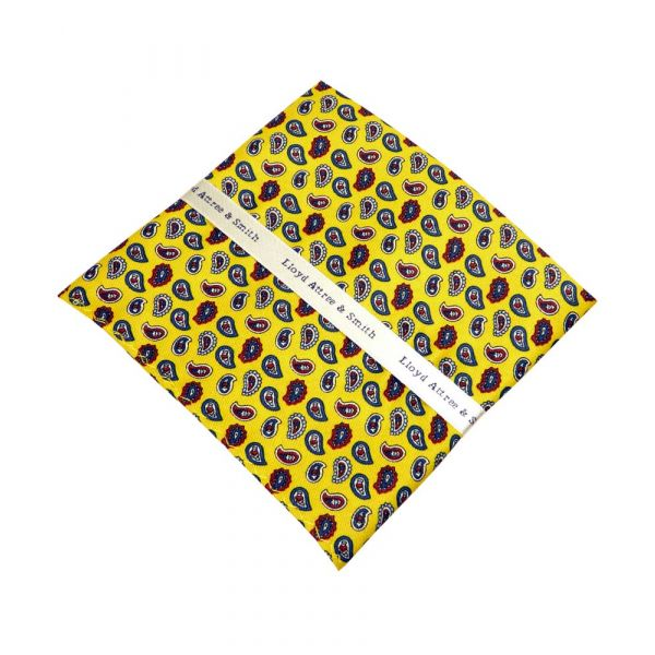 Yellow Birdseye Paisley Top Pocket Hankie