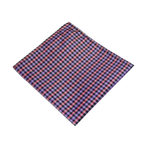 Purple and Pink Check Top Pocket Hankie