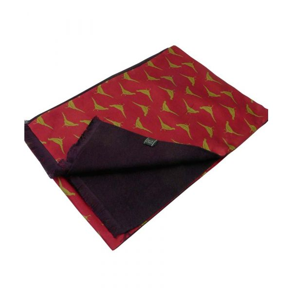 Wine with Gold Phesants Design Silk Manscarf