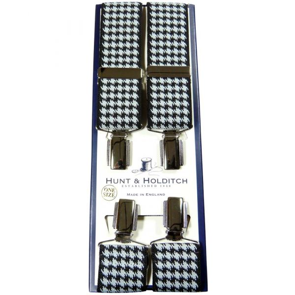 White and Black Houndstooth Clip Braces from Hunt & Holditch