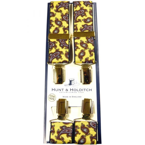Yellow with Paisley Design Clip Braces from Hunt & Holditch
