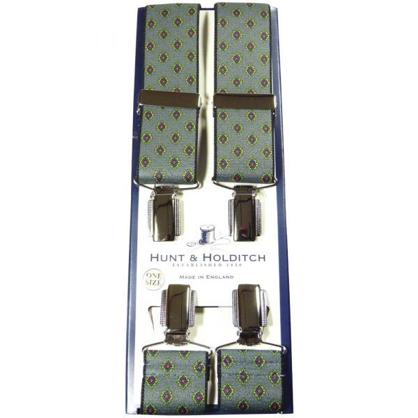 Grey with Diamond Pattern Clip Braces from Hunt & Holditch