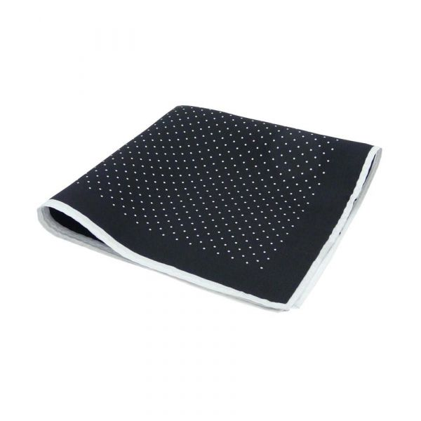 Black Silk Hankie with White Spots and White Hem