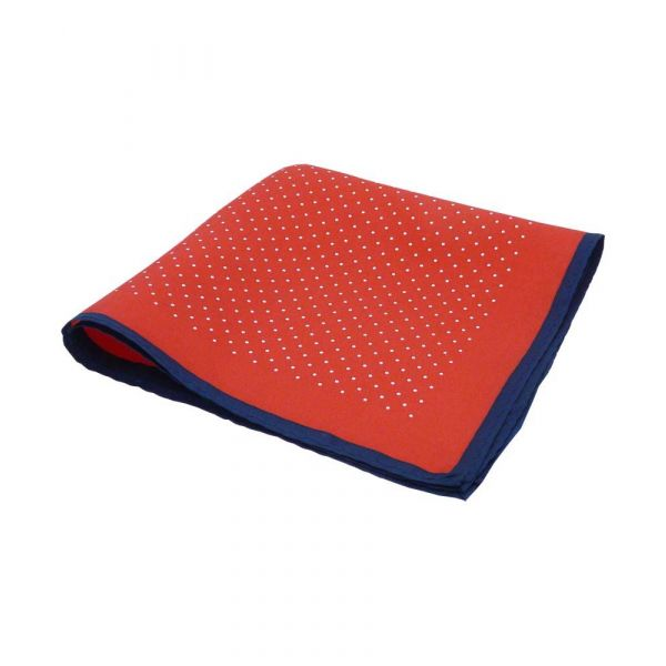Red Silk Hankie with White Spots and Navy Hem