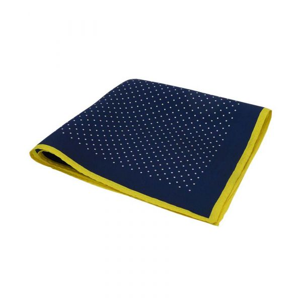 Navy Silk Hankie with White Spots and Yellow Hem