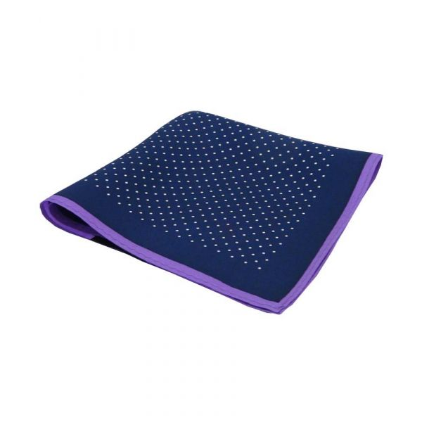 Navy Silk Hankie with White Spots and Purple Hem