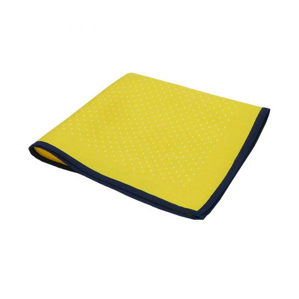 Yellow Silk Hankie with White Spots and Navy Hem