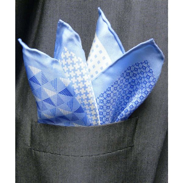 Light Blue Silk Hankie in Four Pattern Design
