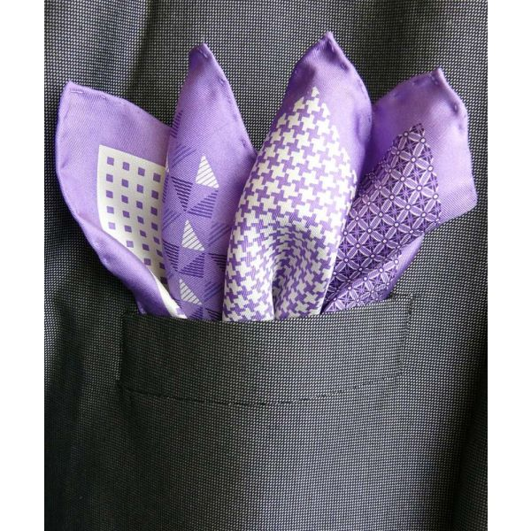 Lilac Silk Hankie in Four Pattern Design