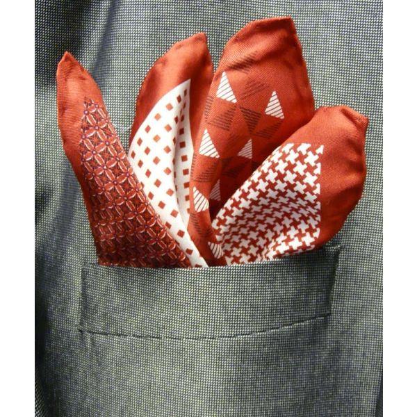 Red Silk Hankie in Four Pattern Design