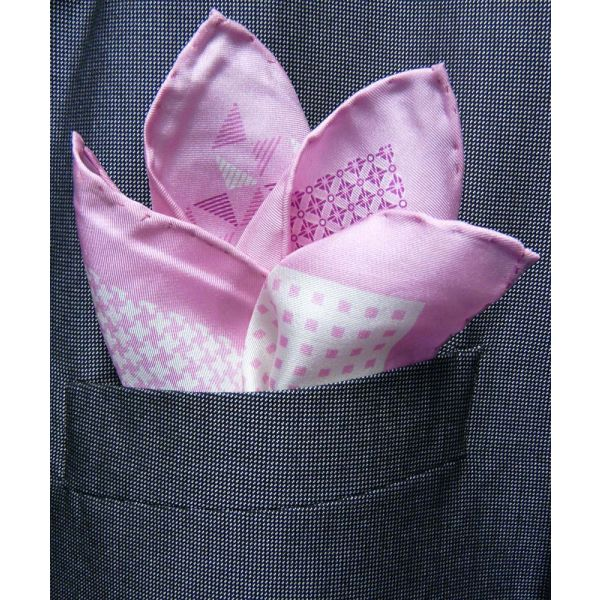 Light Pink Silk Hankie in Four Pattern Design