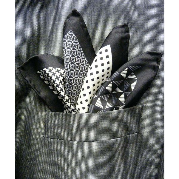 Black Silk Hankie in Four Pattern Design