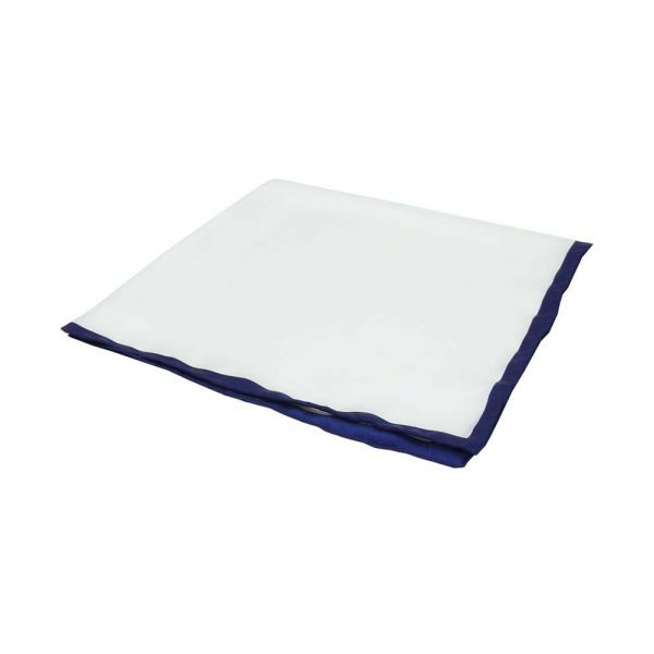 White Silk Hankie with Navy Hem