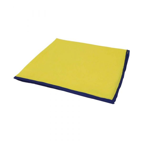 Yellow Silk Hankie with Navy Hem
