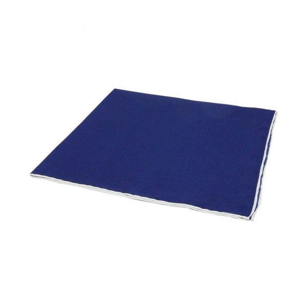 Navy Silk Hankie with White Hem