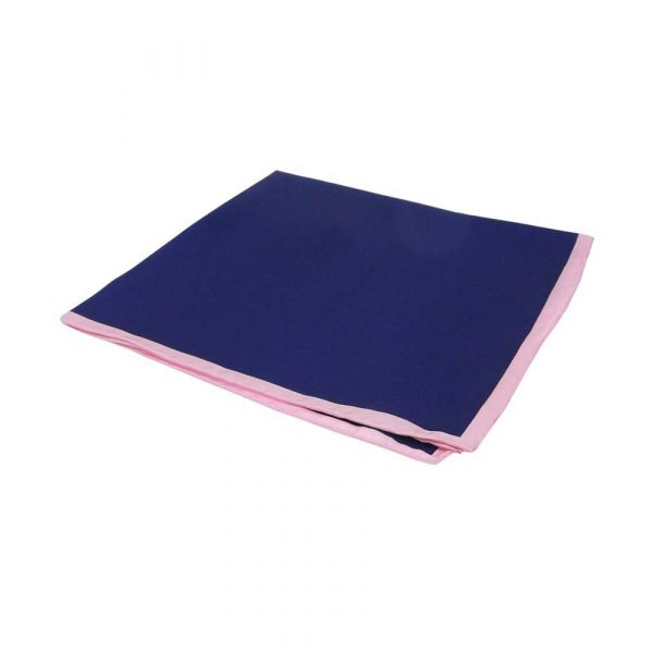 Navy Silk Hankie with Pink Hem