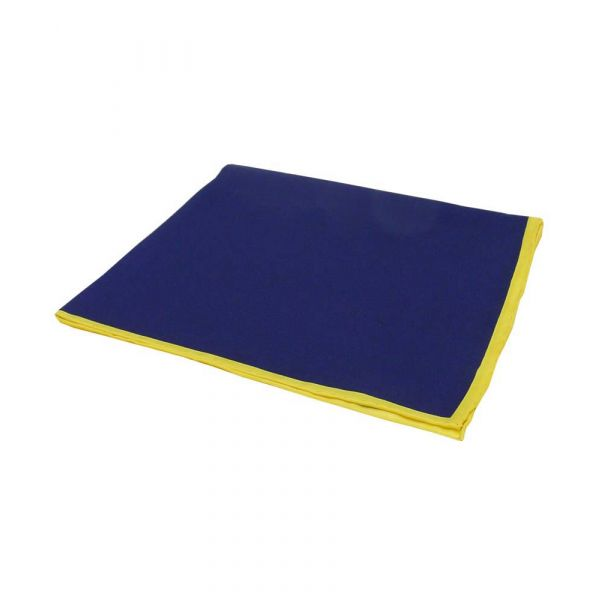 Navy Silk Hankie with Yellow Hem