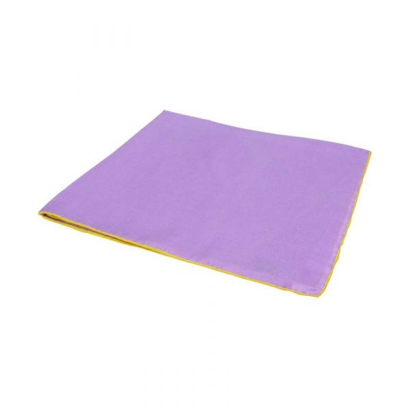 Lilac Silk Hankie with Yellow Hem